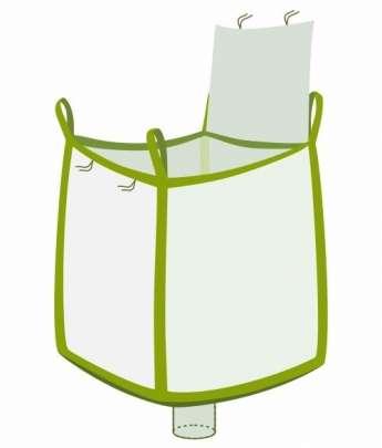 Bag oben Deckelklappe unten Auflaufstutzen