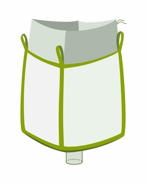 Big Bag oben Einfüllschürze unten Auslaufstutzen