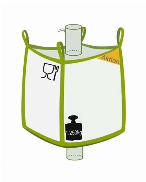 Big Bag, Einlauf und Auslauf, Foodgrade, Aktionsprodukt, 1250 kg Traglast