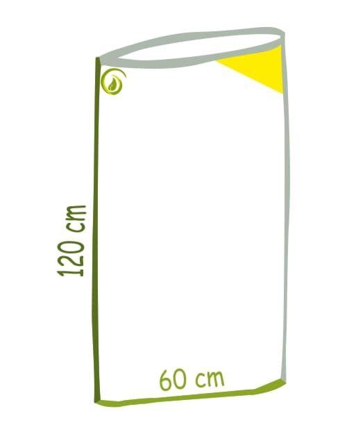 Skizze gelber Kraftsack aus 100 Prozent LDPE Recycling-Folie