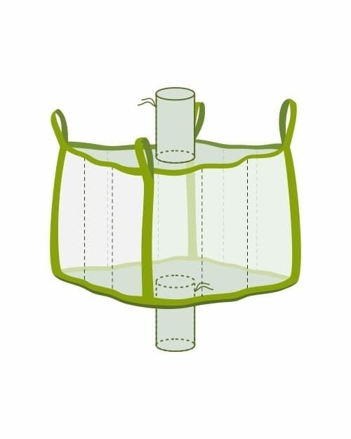 Big Bag klein mit Einlauf- und Auslaufstutzen, transparent