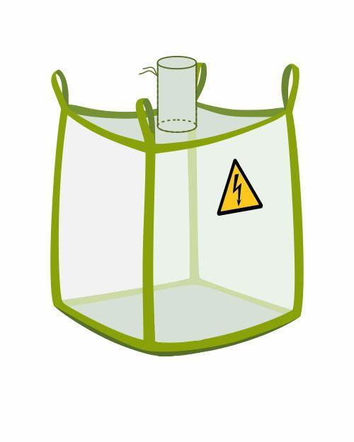 leitfähiger Big Bag mit Einlaufstutzen, transparent