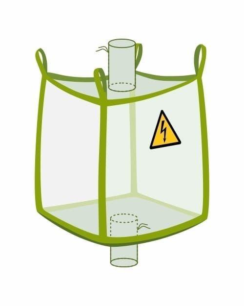 Leitfähiger Big Bag mit Ein- und Auslaufstutzen, transparent
