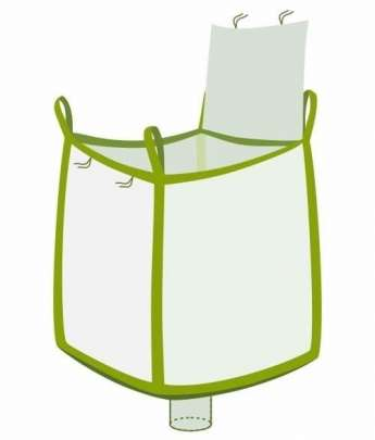 Big Bag, oben Deckelklappe, unten Auslaufstutzen