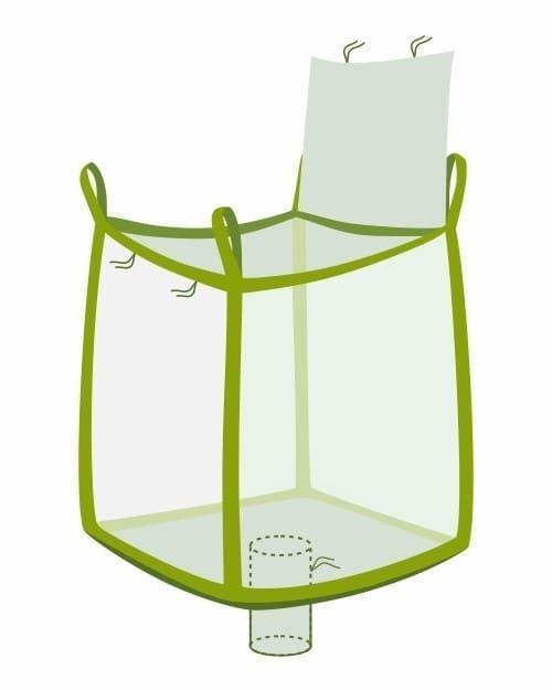 Big Bag, oben Deckelklappe, unten Auslaufstutzen, transparent