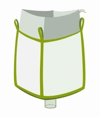 Big Bag, oben Einfüllschürze, unten Auslaufstutzen
