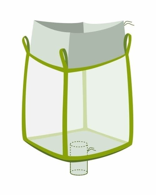 Big Bag, oben Einfüllschürze, unten Auslaufstutzen, transparent