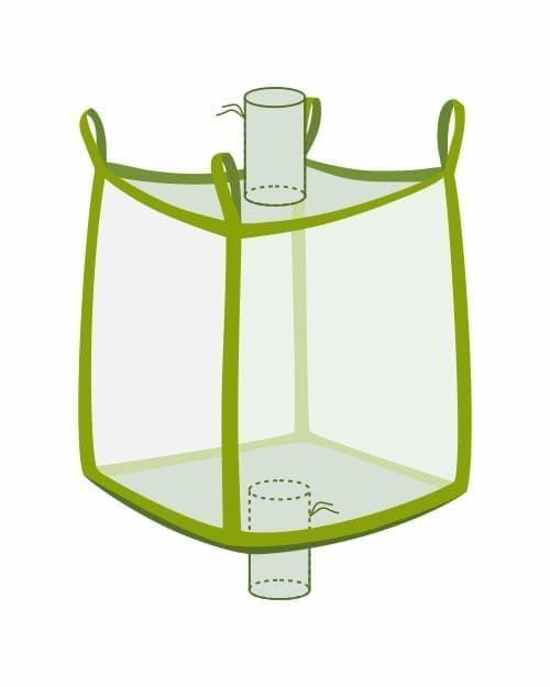 Big Bag, oben Einlaufstutzen, unten Auslaufstutzen, transparent