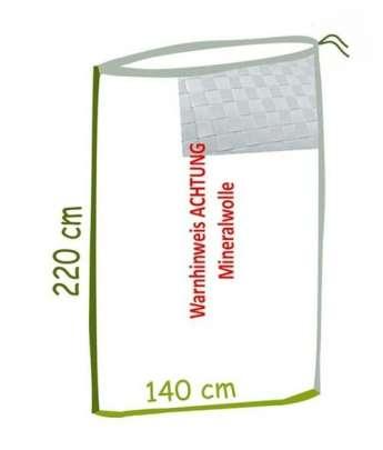 Skizze Mineralwolle Bindegewebesack mit Abmessungen