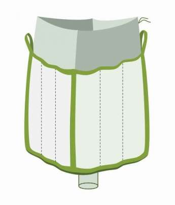 Q Bag, oben Einfüllschürze, unten Auslaufstutzen