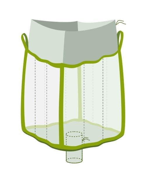 Q Bag, oben Einfüllschürze, unten Auslaufstutzen, transparent