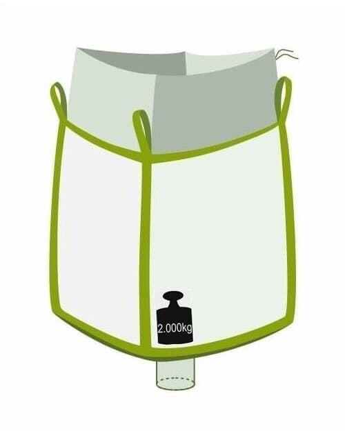 Big Bag, oben Einfüllschürze, unten Auslaufstutzen, 2000 kg Traglast