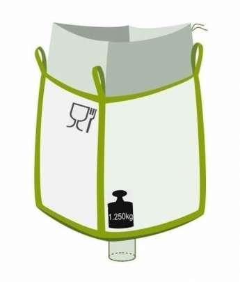 Big Bag, oben Einfüllschürze, unten Auslaufstutzen, Foodgrade, 1250 kg Traglast