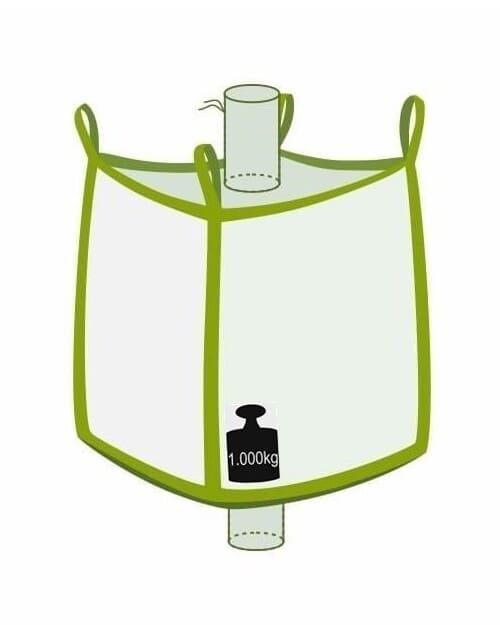 Big Bag, oben Einlauf, unten Auslauf, 1000 kg Traglast