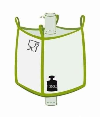 Big Bag, oben Einlaufstutzen, unten Auslaufstutzen, Foodgrade, 1250 kg Traglast