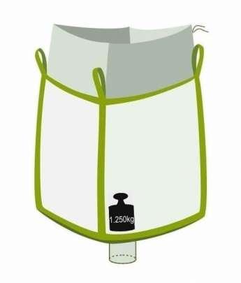 Big Bag, oben Einfüllschürze, unten Auslaufstutzen, 1250 kg Traglast