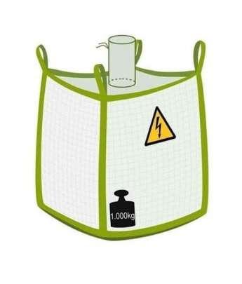 Big Bag, Typ C leitfähig, mit Einlauf und flachem Boden, 1000 kg Traglast