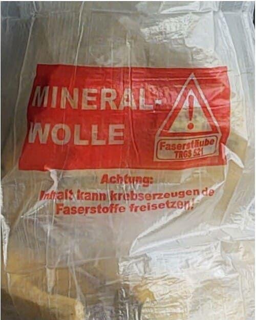 Flachsack für Mineralwollefasern, transparent, Ausschnitt Warnhinweis
