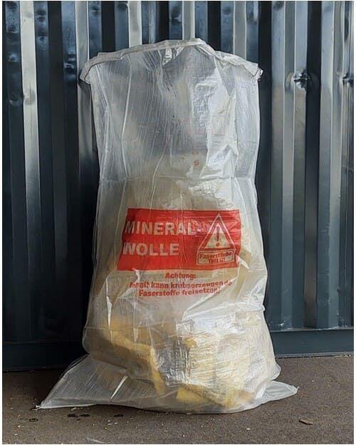 Flachsack für Mineralwollefasern, transparent