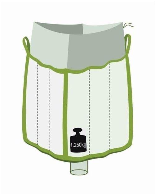 Q Bag, oben Einfüllschürze, unten Auslaufstutzen, 1250 kg Traglast