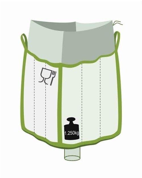 Q Bag, oben Einfüllschürze, unten Auslaufstutzen, Foodgrade, 1250 kg Traglast