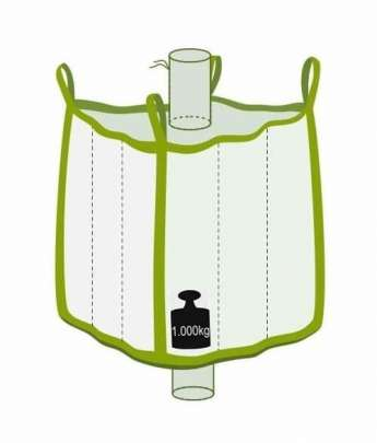 Q Bag mit Einlauf- und Auslaufstutzen, 1000 kg Traglast