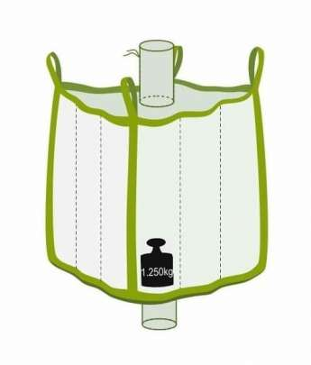 Q Bag mit Einlauf- und Auslaufstutzen, 1250 kg Traglast