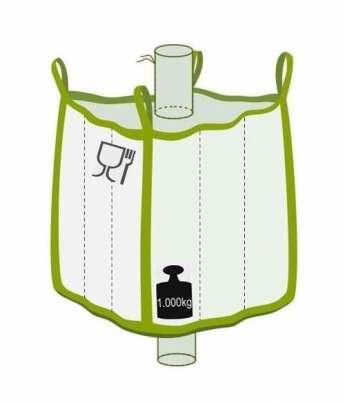 Q Bag mit Einlauf- und Auslaufstutzen, Foodgrade, 1000 kg Traglast