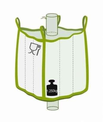 Q Bag mit Einlauf- und Auslaufstutzen, Foodgrade, 1250 kg Traglast